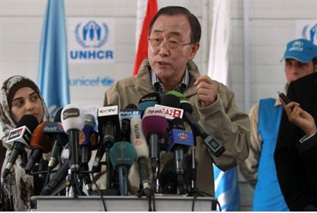 Ban Ki-moon speaks to the media during his v