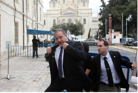 Avigdor Lieberman, leaving court Sunday