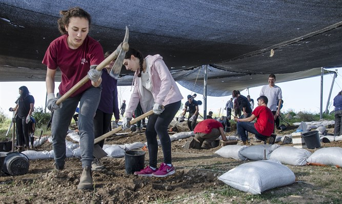 Students working at the archaeological dig