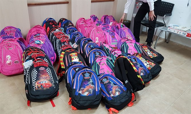 Some of the backpacks distributed