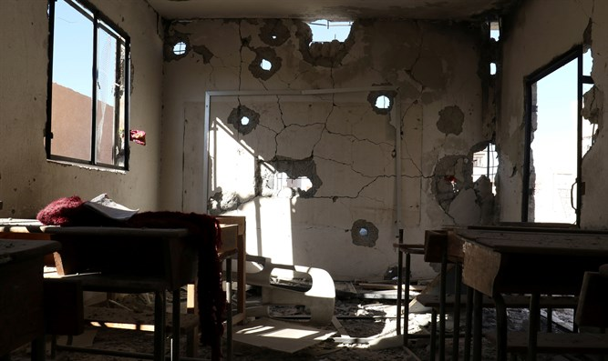Aftermath of bombing of school in Idlib