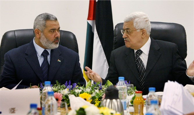 Hamas leader Ismail Haniyeh with PA Chairman Mahmoud Abbas