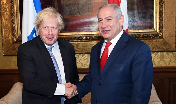 Netanyahu and British Foreign Secretary Boris Johnson