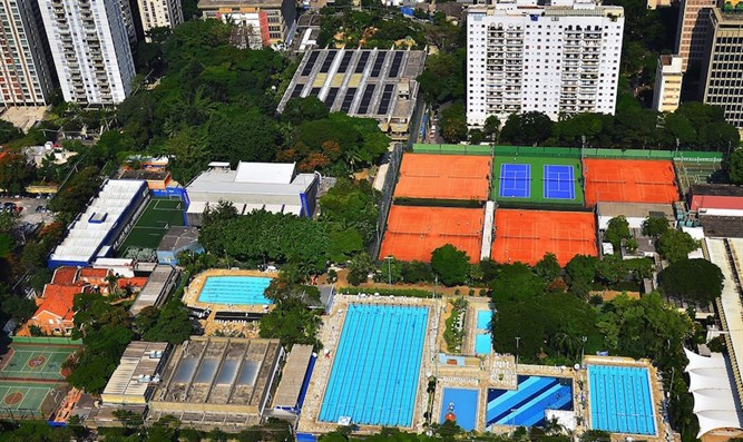 An aerial view of Sao Paulo's huge Hebraica club, the main meeting place for the