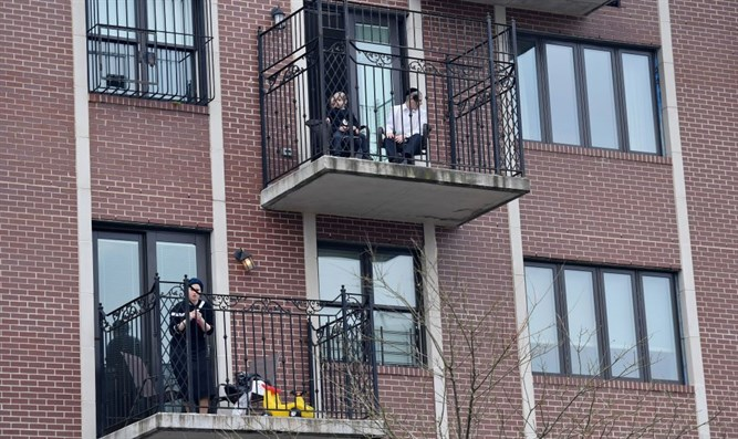 Members of the Orthodox Jewish community in Brooklyn, New York on April 8, 2020.